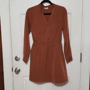 Brown shirt Dress V neck